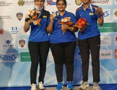 India Won Bronze Medal In 10m Air Pistol Team Women At ISSF World Cup Rifle/Pistol/Shotgun In Osijek, Croatia.