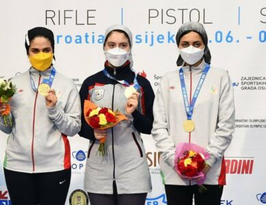 Iran won Gold Medal in 10m Air Rifle Team Women At ISSF World Cup Rifle/Pistol/Shotgun In Osijek, Croatia.
